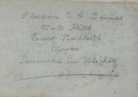 Note inside the back cover bearing Florence E C Small/Smale's address