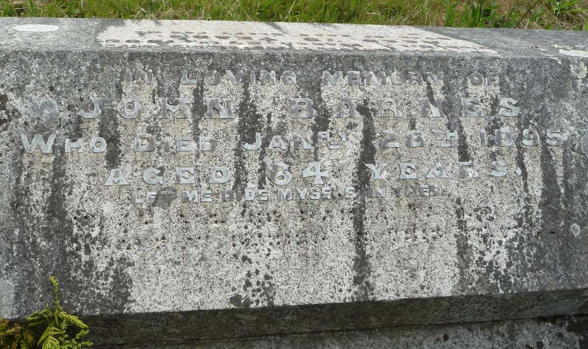 Monumental Inscription for John Barnes, (abt. 1830 - 1895)