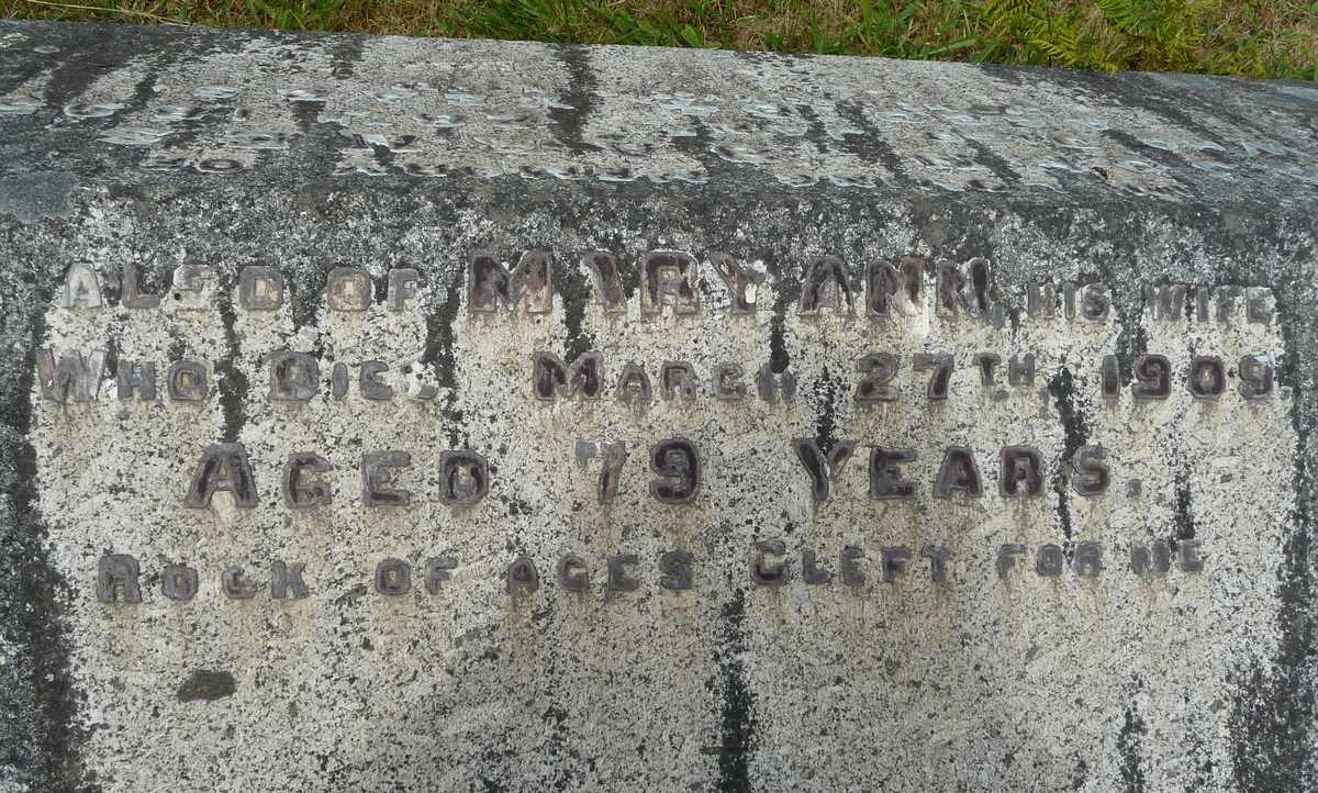 Monumental Inscription for Mary Ann Barnes (nee Reynolds), abt. 1830 - 1909