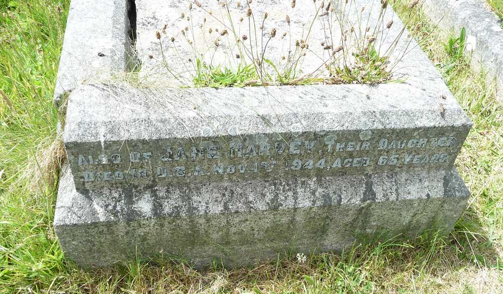 Memorial Inscription for Jane Harvey, nee Downing
