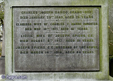 Inscription for Charles Joseph Dando on the Spiers family vault in Kensal Green Cemetery