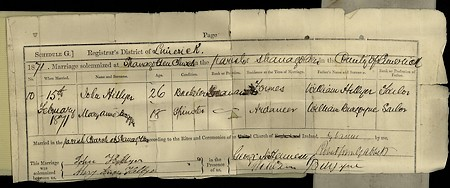 Marriage Certificate - John G Hellier and Mary Ann Burgoyne
