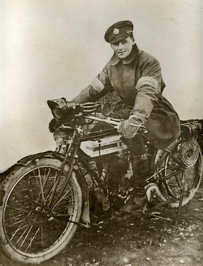Charles George Hibbitt as a Motorcycle Despatch Rider in WW1