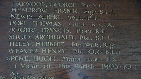 Memorial Board in St Andrew's Church, Curry Rivel