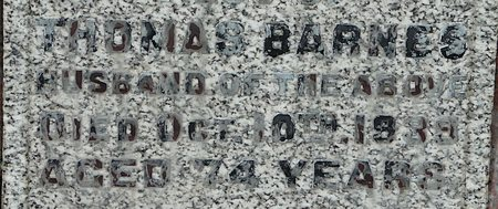Thomas Barnes senr's. headstone inscription
