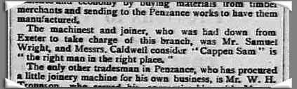 From The Cornishman newspaper article dated 1893