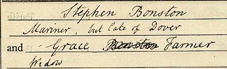 The marriage between Stephen Bonston and Grace Farmer
