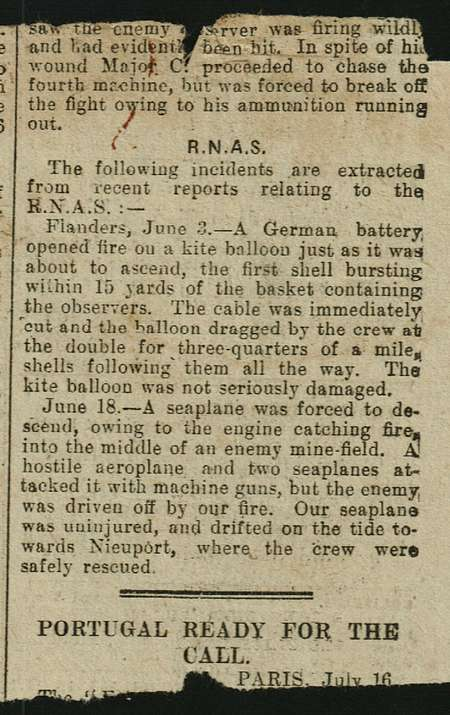 Cyril Ellen kept this newspaper cutting of the incident on 18th June 1916