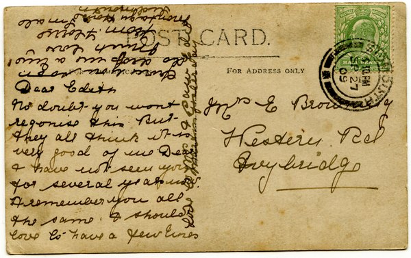 Postcard written in 1909 by my great-grandmother, Florence Smale