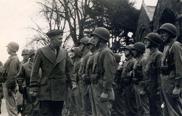 General Eisenhower inspecting the US troops in front of St Eustachius Church in Tavistock
