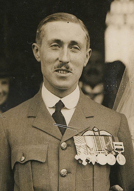 Cyril Ellen wearing his medals in 1925