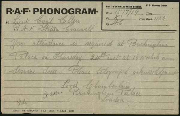 Original phonogram sent on 15th July 1919 to Lt C N Ellen