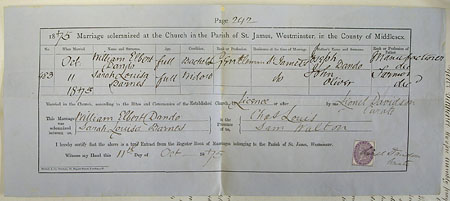 William Elbert Dando & Sarah Louisa Oliver's Marriage Certificate held at the National Archives