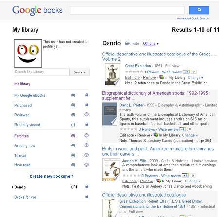 'My Library' in Google Books
