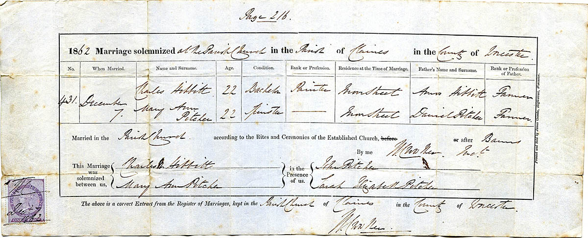 1862 Marriage Certificate for Charles N Hibbitt & Mary A Pitcher