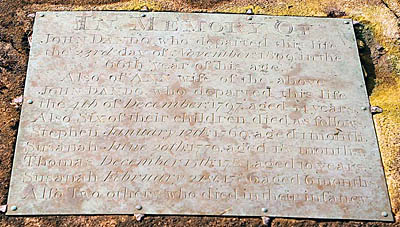 The Dando grave plaque at Rodborough, Gloucestershire