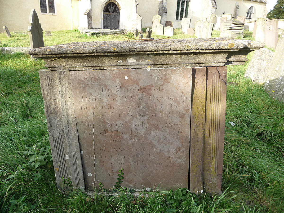 Tomb of John Fryer (b abt. 1695) and his wife, Mary, (nee King)