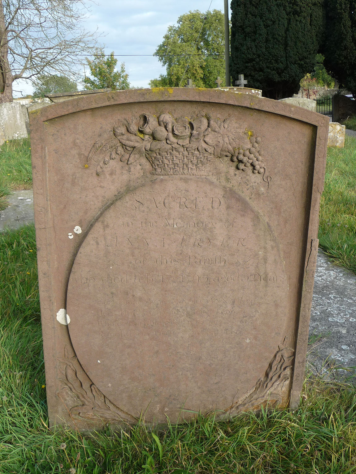 Gravestone of Anna / Hannah Fryer (abt. 1741-1793)