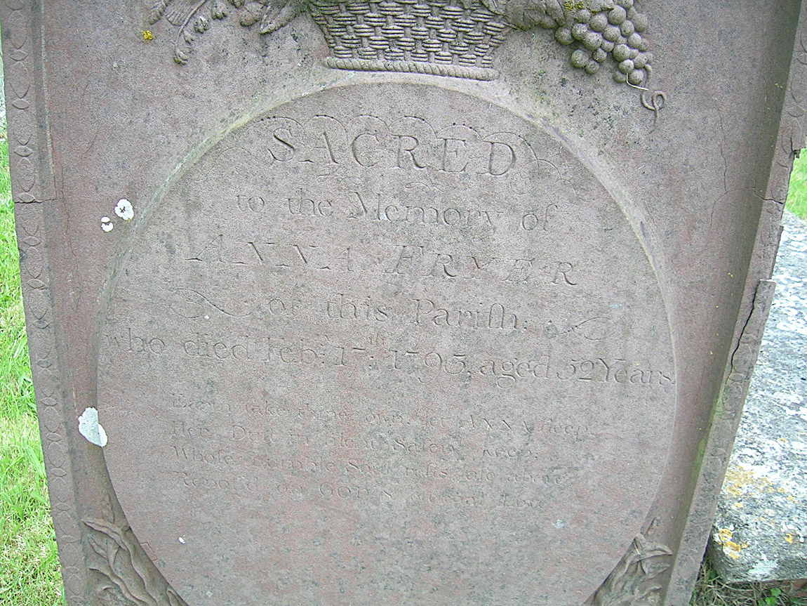Gravestone of Anna / Hannah Fryer (abt. 1741-1793)