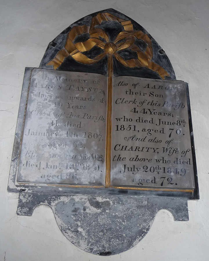 Aaron Taysum Memorial inside Arlingham Church