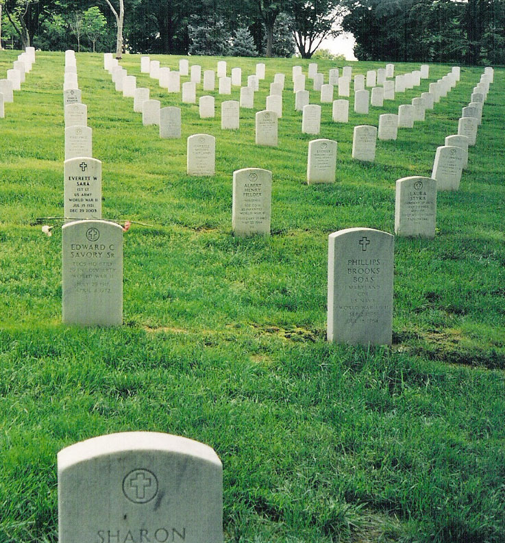 Graves of the Savory family in Arlington National Cemetery