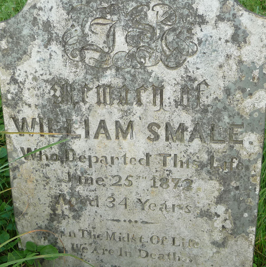 Headstone of William Smale (abt 1838-1872)