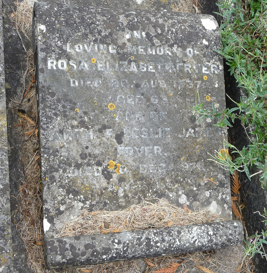 Memorial stone of Rosa Elizabeth Fryer and nephew, Arthur L.J. Fryer