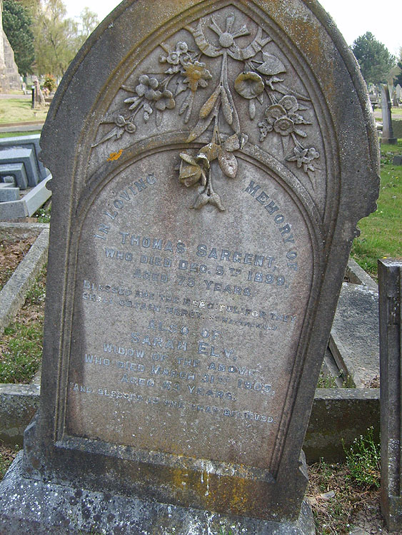 The grave of Thomas Sargent and his wife, Sarah Ely (nee Fryer)
