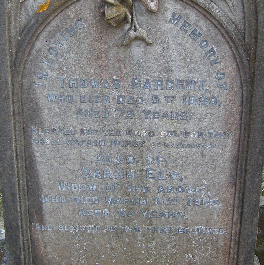 Inscription for Thomas Sargent and his wife, Sarah Ely (nee Fryer)