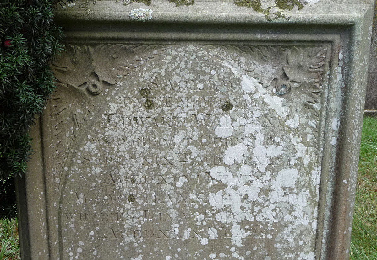 Inscription for Edward Warren and his wife, Hannah (nee Fryer)
