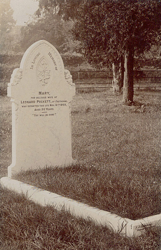 Grave of Mary Pockett (nee Fryer) - (abt 1853-1903)