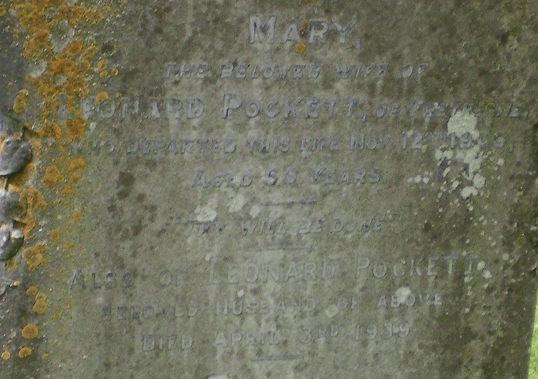 Inscription for Leonard Pockett and his wife, Mary (nee Fryer)