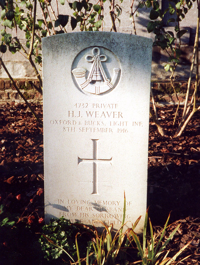 Headstone of Henry James Weaver (1882-1916)