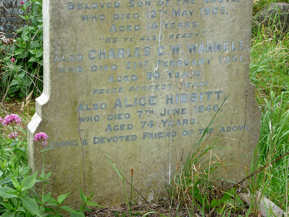 Headstone of Alice Hibbitt (nee Ridley)