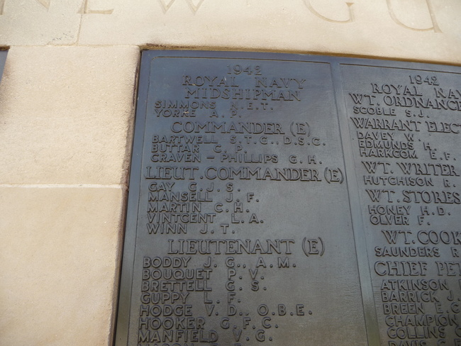 Charles Henry Martin is commemorated on the Plymouth Naval Memorial