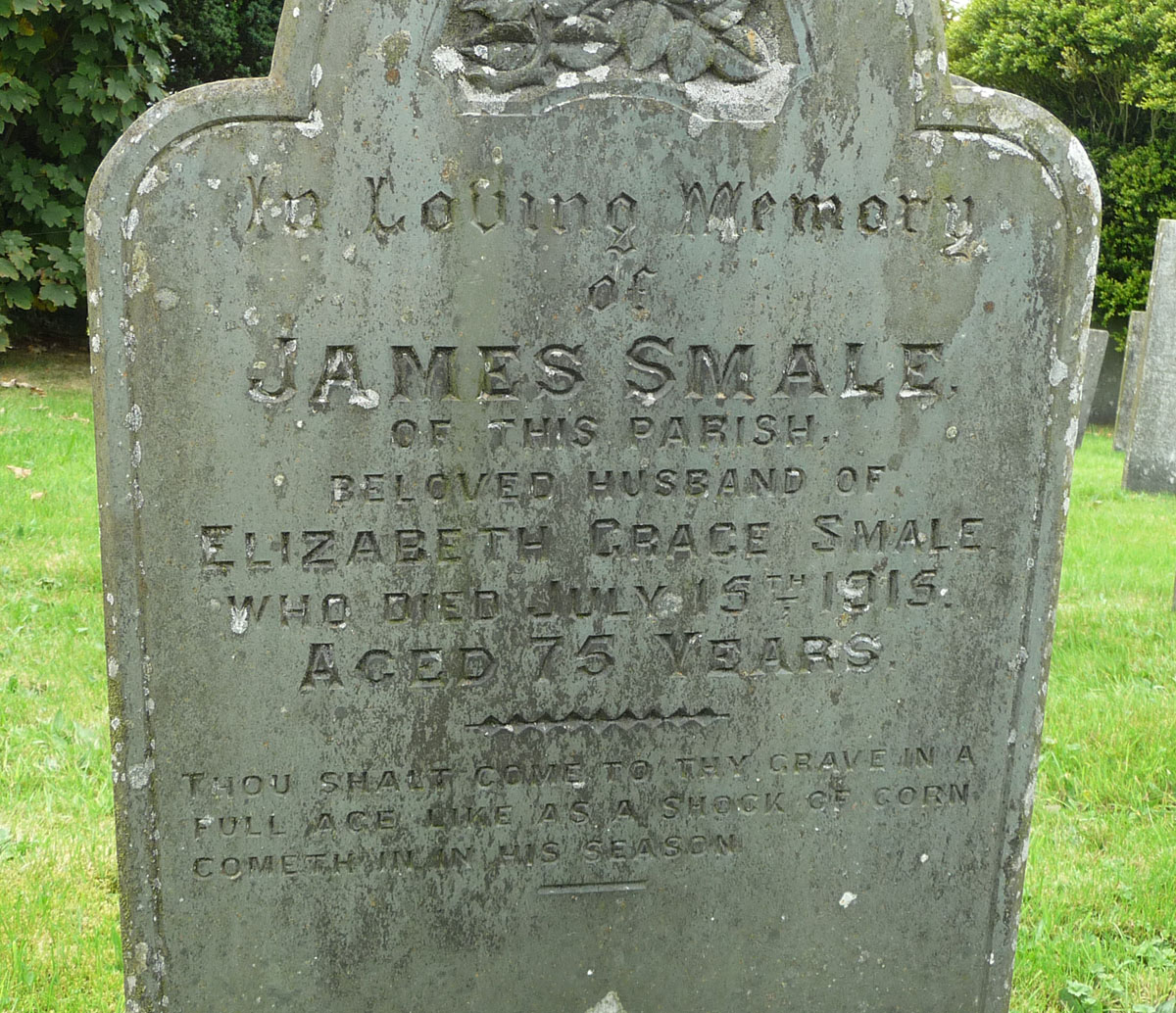 Memorial inscription on the headstone of James Smale (abt. 1840-1915)