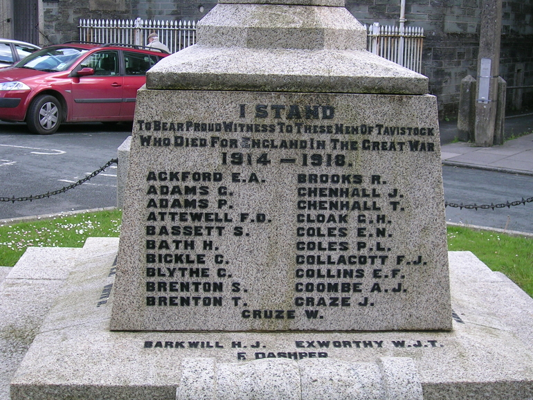 Tavistock War Memorial in Devon