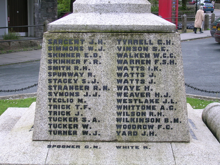 Henry James Weaver is commemorated on Tavistock War Memorial