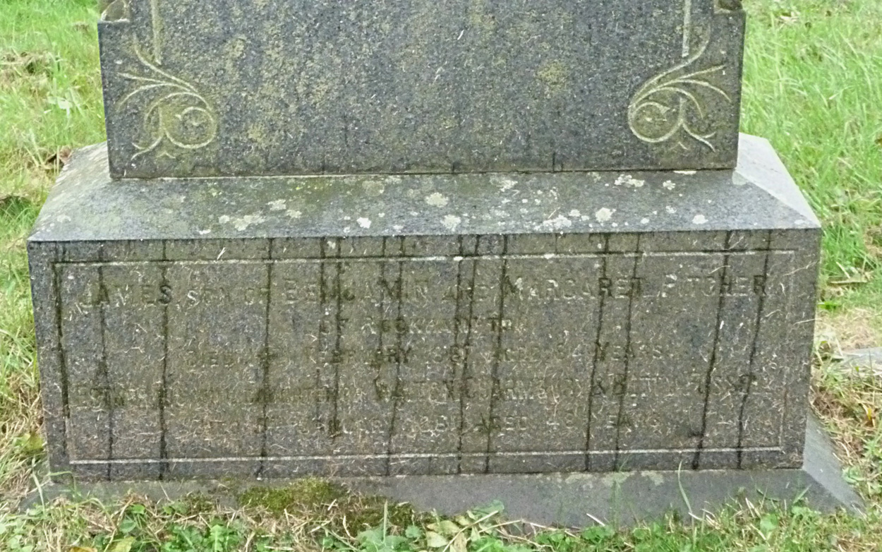 Inscription for James Pitcher (abt 1783-1867) and his wife, Esther
