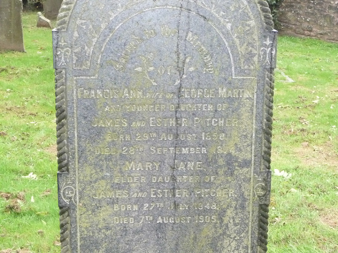 Inscription for Francis Ann Martin and her sister, Mary Jane Pitcher