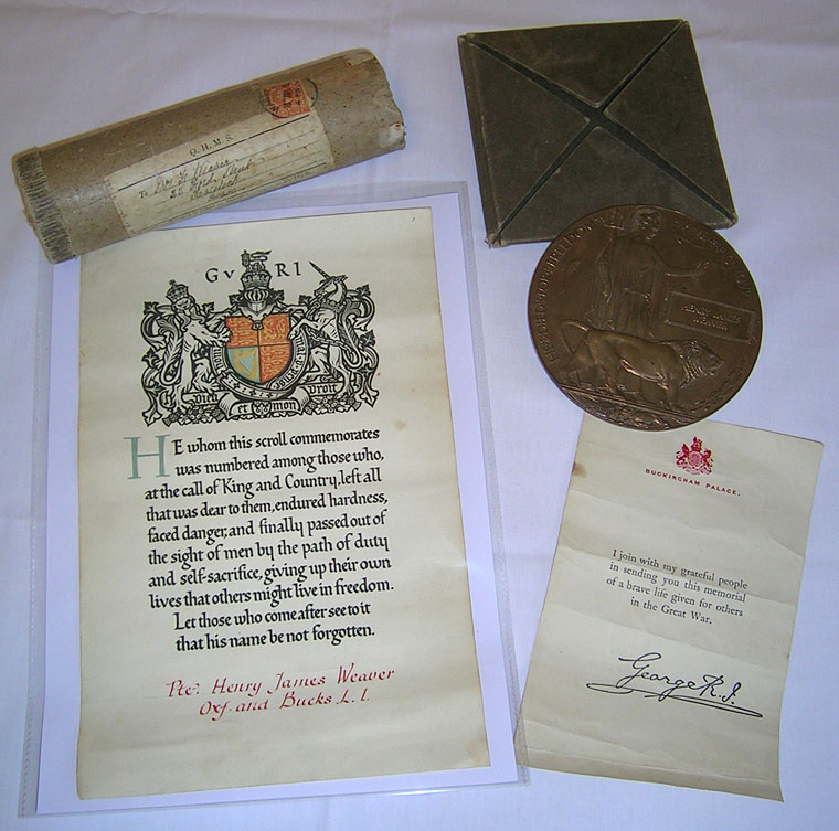 Memorial Plaque & Scroll for Henry James Weaver