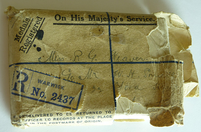 Original Envelope containing the Box with Henry J Weaver's WWI Medals