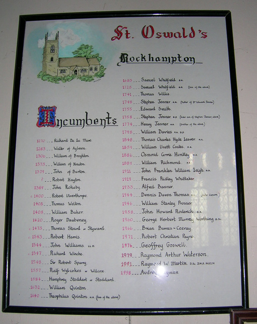 List of Vicars of Rockhampton Parish Church