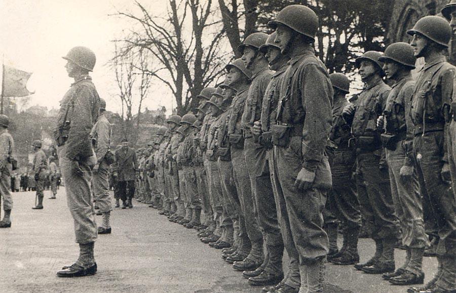 General Dwight D Eisenhower inspecting US troops in Tavistock in 1944