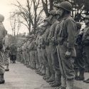 General Dwight D Eisenhower inspecting US troops in Tavistock in 1944